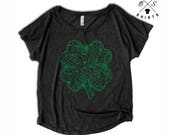 10% OFF SALE, St Patricks Day Women, Clover Shirt, Lucky Charm, St Pats Shirt, Flowy, Dolman, Green Shirt