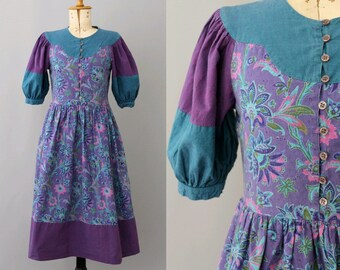Anastasia Paris 80s paesant Dress small/ 80s Paris paesant dress russian style