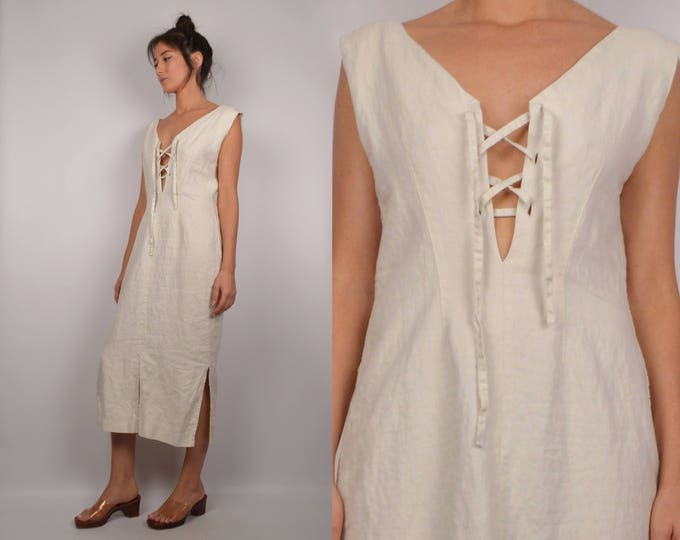 Vintage Linen Market Dress / Lace Up V-neck