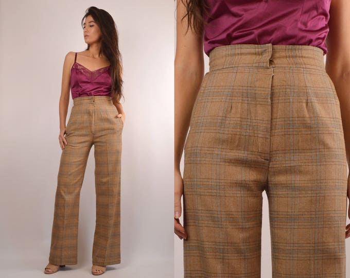 70's Mocha Plaid Wide Leg Flare Trousers