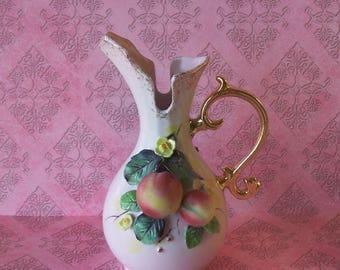 Charming 1960 Vintage Hand Painted GEO Z LEFTON Pastel Pink w/Fruit Floral Decor Pitcher