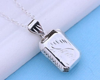 Solid Sterling silver Small Rectangular Locket Necklace. Small Locket from lustrous Sterling Silver -Remembrance. Heirloom Locket . R-26