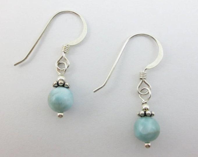 Sky Blue Larimar Drop Earrings at 6 mm or 7 mm on Sterling Silver or 14k Gold Fill - Dangle Earrings - Blue Earrings