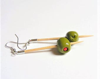 Food Jewelry Martini Olive Earrings, Martini Earrings, Miniature Food, Stuffed Olives, Handmade Jewelry, Mini Food Jewellery, Olive Charm