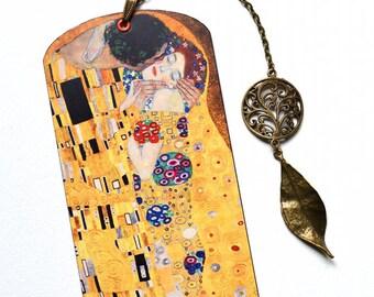 Bookmark with Bronze Pendant - Klimt - The Kiss - Art - Painting - Handmade