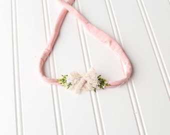With Grace - dainty style jersey knit tieback in beautiful pink blush knit with pale peach lace bow and greenery (RTS)