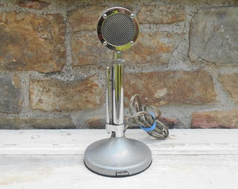 Vintage Astatic Microphone Chrome Model D-104 Lollipop Mic Microphone & UG8 Stand Conneaut, Ohio The Astatic Corp. Chrome Silver Photo Prop