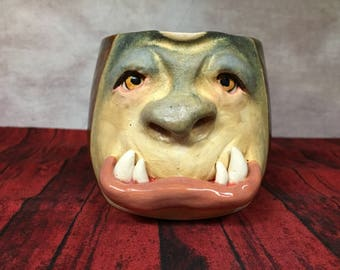 CREAMER - wheel thrown, hand altered and sculpted.  Just a friendly face to enjoy with your coffee creamer. CR3