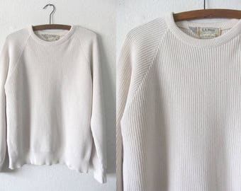 Ribbed Knit Raglan Sweater - Minimal Soft White Slouchy fit 90s Vintage Jumper - Women's XL