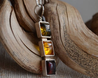 Vintage Tri-color Genuine Amber Pendant, Sterling Silver 925 Handmade on Sterling chain. Gift for her.