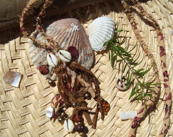 Rustic Morocco Inspired Tribal Hand Blocked India Fabric Leather Brass Glass Shells Wood Charms Long Hippie Necklace
