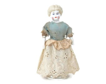 Blonde China Head Doll from Germany with Print Cloth Body and Original Clothing Civil War Era