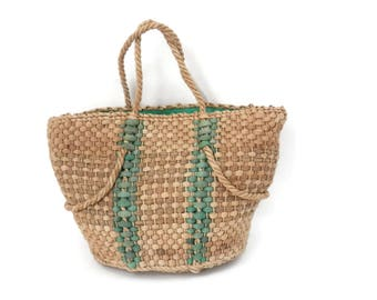 Summer Straw and Rope Tote Bag Extra Large with Green Plastic Liner Oversized Beach Bag