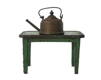 Miniature Brass Teapot w/Swing Handle and Lid Antique Dollhouse Miniature