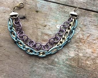 Chunky Bracelet, Multi chain bracelet, boho bracelet
