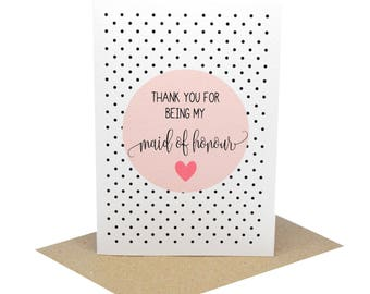 Thank You for being my Maid of Honour Card | Wedding Card | Blush Thank You Card Circle | WED071 | Thank You Maid of Honour Thank You Card