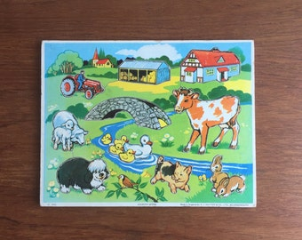 Vintage Wooden Jigsaw Puzzle by G.J Hayter & Co, 1972, farmyard, country scene, Childrens vintage Toys, Made in England