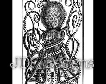 Instant Digital Download, Vintage Antique Graphic, Octopus, Cuttlefish, Nautical, Ocean Adventure, Sea Creature, Etching, Steampunk, Summer