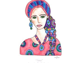 Painting / Art Print / Woman in Scarf  / Blonde Woman Green Eyes Hair Scarves  / Breast Cancer Awareness / Unique Artwork / Boho / Get Well
