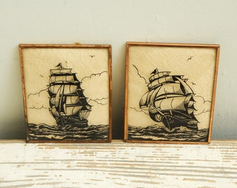 Pair Vintage Reverse Pictures Clipper Ships