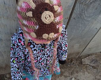 READY TO SHIP! Adorable Baby Moose Crochet Earflap Hat, Crochet Moose Hat, Photography Prop, Toddler Crochet Hat, Preschooler Crochet Hat