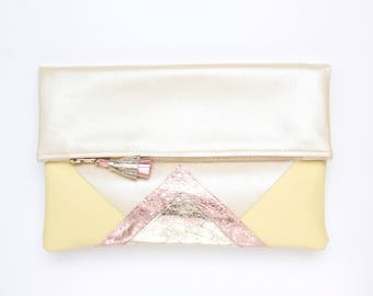 Large leather bag. Fold over clutch. Geometric purse. Statement bag.Metallic natural leather.Pastel gold rose gold handbag /CARRIER 40