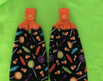 Halloween Candy  - Hanging Kitchen towel - Set of 2 - Crochet top- Button top