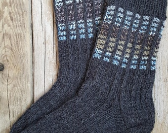 Hand Knit Wool Socks - Grey Wool Socks for Men -Mens Socks -Handmade Socks
