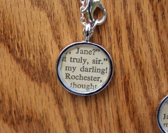 Jane and Mr. Rochester - Jane Eyre Book Page Literary Necklace - Charlotte Bronte