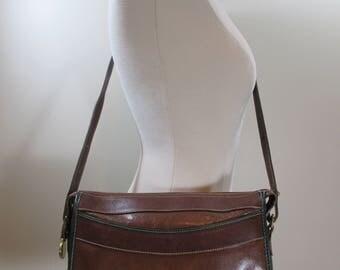 Vintage Brahmin Leather Handbag Crossbody Bag Brown Shoulder Bag Vintage Handbag Brown Leather Purse Vintage Leather Handbag Made In USA