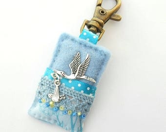 baby bag charm, blue baby accessory, unique baby gift, doula gift, baby boy gift, stork and baby, gift for midwife, new baby gift, UK shop