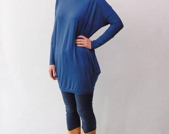 Tunic Dress, Tunic, Tunic Shirt, Mini Dress, Oversized Top, Blue Tunic Dress, Perse Tunic Dress, Blue Tunic, Perse Blue Tunic