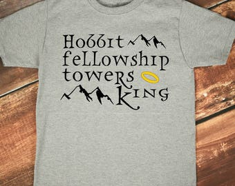 LOTR Inspired Shirt, Lord of the Rings Tee, LOTR T-Shirt, LOTR Adult, Rings Trilogy, Hobbit Shirt, Tolkien Shirt,