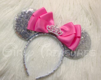 Princess Mouse Ears Headband. All over Sequin Mouse Ears. Hot Pink Bow Mouse Ears. Princess Headband. One Size Fits Most.
