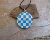 "02 - NBX18: Origami paper pendant, wooden pendant, 24"" cotton cord necklace, blue checker pattern, fun jewelry, light weight, geometric"