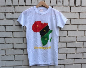 Vintage CRY FREEDOM Shirt ANC Size S Small African National Congress Apartheid South Africa Nelson Mandela