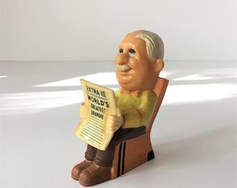World's Greatest Grandpa, Vintage Grandfather Figurine, 1970 Grandfather Gift, Grandfather Reading Wall Street Journal, Retro Colors
