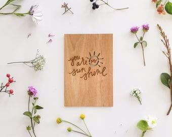 You Are My Sunshine Wood Love Card [5th, Five Year Anniversary / Custom Anniversary / Valentine Card / Boyfriend / Girlfriend / Baby]