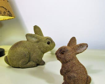 2 Vintage Flocked Bunnies Vintage Easter Bunnies Flocked Animals Dolls Easter Bunny Gift Retro Kitsch 70s