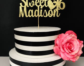 Custom Happy Sweet Sixteen- sweet sixteen cake topper