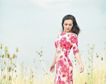 JULY 20 OFF ON Sale Maxi Dress, Jersey Dress, Floral Dress, Poppy priint