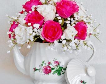 Teapot Silk Flower Arrangement, Fuchsia Rosebuds, White Rosebuds, English Tea Store Floral Teapot, Teapot Silk Floral, Floral Home Decor,