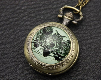 Necklace Pocket watch three owls