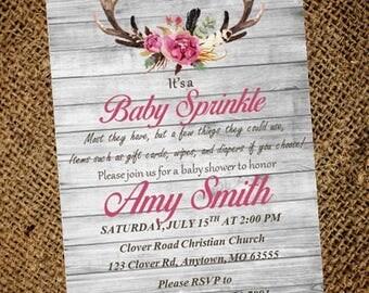 Deer Antler Baby Invitation - Rustic Baby Shower Invitation - Girl Baby Shower Invitation