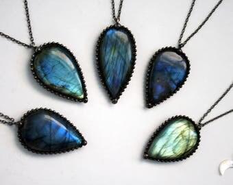 Blue Labradorite Teardrop Necklace - Small // Blue Labradorite Statement Necklace