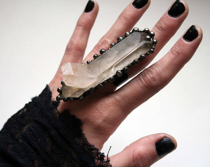 Massive Quartz Cluster Crystal Ring