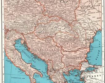 Vintage Europe Map Etsy - Europe map 1944