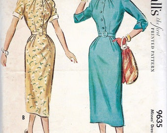 "Vintage 1953 McCall's 9635 Slim Shirtwaist Dress Sewing Pattern Size 20 Bust 38"""