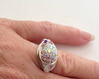Pave Ring, Swarovski Crystal Wire Wrapped Ring, Multistone Ring, Unique Ring, Sparkle Ring