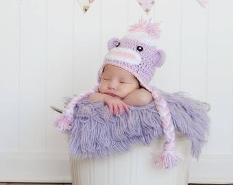 Crochet Sock Monkey Hat - Baby Sock Monkey - Newborn Photo Prop - Baby Girl Hat - Newborn Monkey Hat - Crochet Baby Hat - Baby Shower Gift